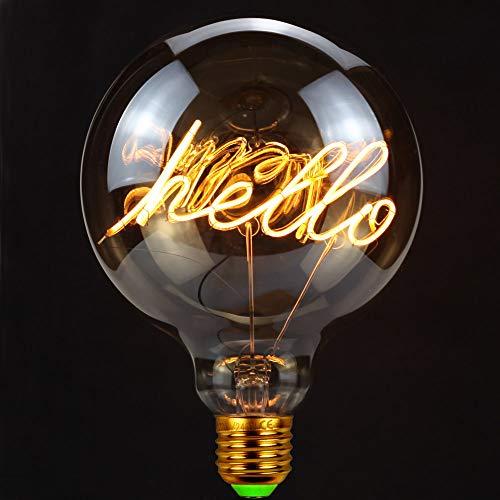 TIANFAN Led Lamp Vintage Led Filament Lamp Alfabet Gloeilamp G125 HELLO Tafellamp Gloeilamp 4W Dimbaar 220V E27 2000K Super Warm Wit
