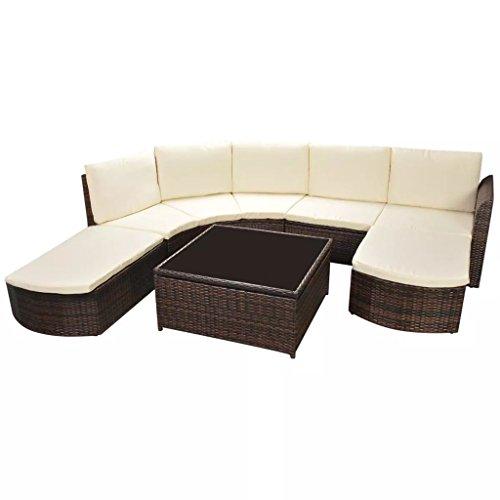 lingjiushopping Juego sofás de jardín 17unidades de Polirratán Modular Marrón Color del cojín color blanco crema juego de muebles de exterior