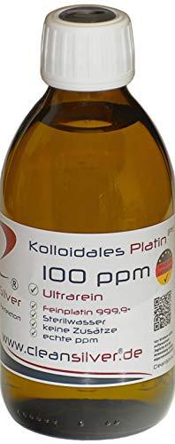 Kolloidales Platin 100 ppm 250ml, Ultrarein 99,99%, immer frisch hergestellt (pharm. Sterilwasser, Braunglas-Euromedizinflasche mit Originalitätsverschluss, keine Lagerware!)