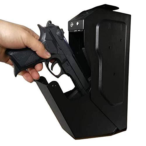 LXNQG Portátil Caja Fuerte para Armas, Gabinete para Armas, Huella Digital y Cerradura con Llave, Fácil de Usar, Proporciona Almacenamiento Seguro para Una Pistola Estándar