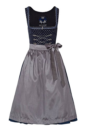 Moser® Damen Dirndl lang 80er dunkelblau Gemustert Silber Anneliese 003667, Größe 42