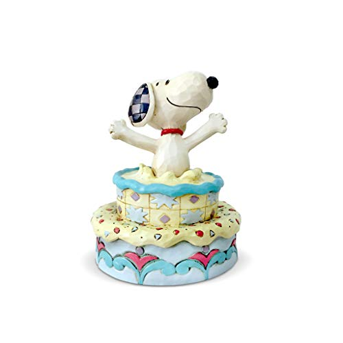 Enesco Peanuts by Jim Shore Snoopy Jumping Out of Birthday Cake Figurine, 5.5 Inch, Multicolor