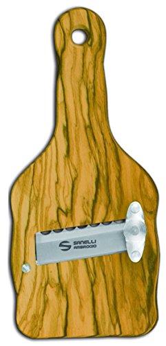 Sanelli Ambrogio- Cortador de trufas de Madera de Olivo con Hoja Ondulada, marrón, 23 x 9x 2.5cm, 1741.000