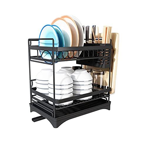 Partes de cocina de acero inoxidable, bastidores de platos, bastidores de drenaje para secar platos y palillos, encimeras de almacenamiento, platos, caja de almacenamiento, ahorro de espacio, negro