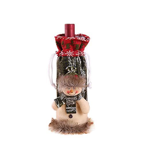 Demarkt–Navidad decoración Navidad Papá Noel Rojo Vino flaschenabdeckung Bolsillos Schöne Navidad Rojo Vino Cordón Fieltro Funda Mesa Cena Decoración, Fibra de poliéster, Muñeco de Nieve, 13cm×29cm