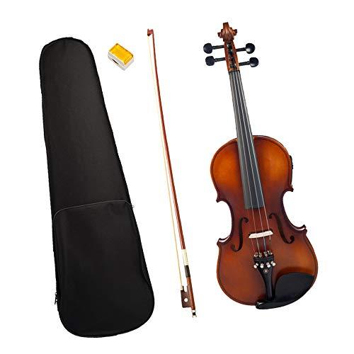 LOIKHGV Geige- Geige Für Elektrische Akustische Violine Mit Voller Höhe In Massivem 4/4 Braun Professionellem Holz, wie Gezeigt