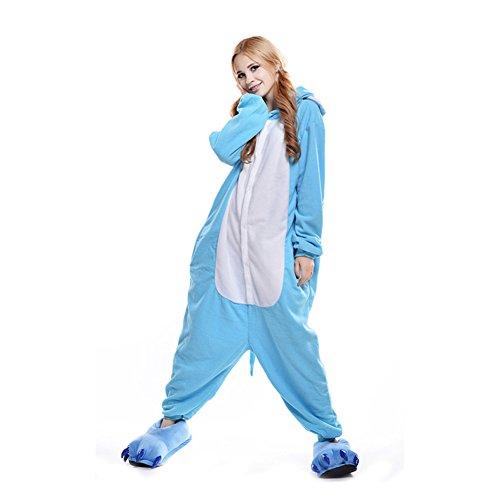 SXSHUN Jumpsuit Tier Cartoon Fasching Karneval Halloween Kostüm Sleepsuit Cosplay Fleece-Overall Pyjama Schlafanzug Erwachsene Unisex Onesie Nachtwäsche, Blauer Elefant, S (146-159cm)