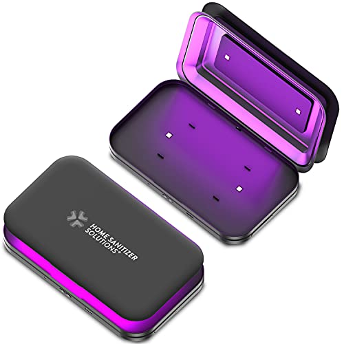 UV Phone Sanitizer with Smartphone Charger Powerbank 5000 mAh - Collapsible Ultraviolet Disinfection and Sterilization Light Box for Keys Wallet Money Jewelry