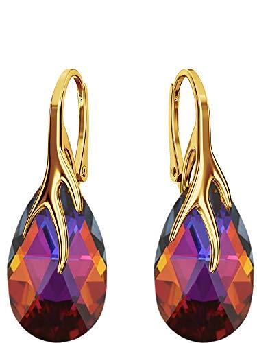 Crystals & Stones Silber 925/Vergoldet 24 K *MANDEL* - *Farben Varianten* Schön Damen Ohrringe Silber 925 - mit Kristallen von Swarovski - Wunderbare Ohrringe mit Geschenkbox BAP39 (Volcano)