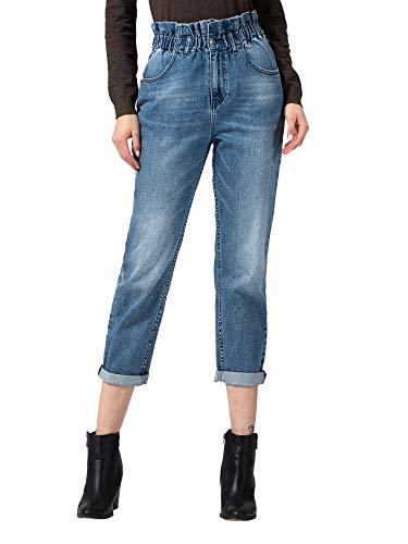 VERVET by Flying Monkey Women's Super High Rise Roll Up Elastic Waistband Paperbag Mom Jeans, Medium Blue, VT782-26