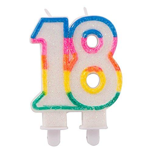 Folat 22891 - Velas con purpurina para 18 cumpleaños con 2 soportes, multicolor
