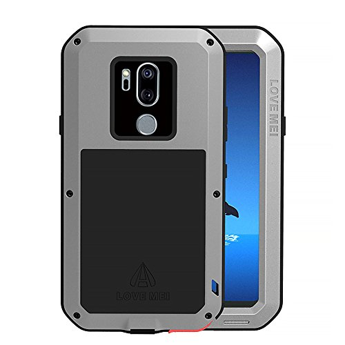 LG G7 Case, LG G7 ThinQ Case, Armor Aluminum Alloy Cover Heavy Duty Gorilla Glass Rubber Waterproof Shockproof 360 Protective Military Outdoor Men Bumper Defender LG G7 2018 Feitenn - Silver