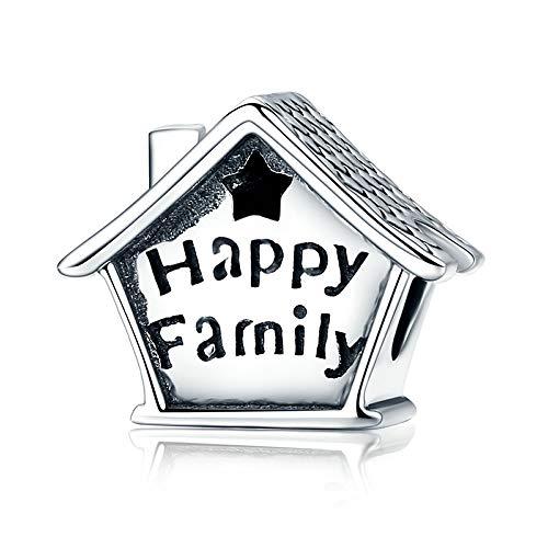 Gelukkig Familie Huis 100% 925 Sterling Zilver Gelukkig Familie Huis Klok Vorm Bedel Kralen fit Bedel Armbanden Kettingen DIY Sieraden