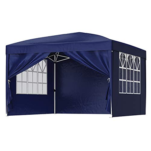 SONGMICS Pavillon, 3 x 3 m Gartenzelt, Anti-UV, wasserfest, Pop-up Gartenpavillon, Vorzelt, Faltpavillon, mit Tasche, 2 Seitenwände mit Fenster, Outdoor, Garten, Markt, Partys, blau GCT14IN