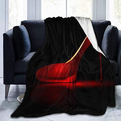 GOSMAO Manta Manta de Lana de Franela Tiro Rojo Zapatos de tacón Alto Terciopelo Ultra Suave Manta de Tiro de Felpa Todas Las Estaciones Manta de Cama de Dormitorio 60X80 Inch