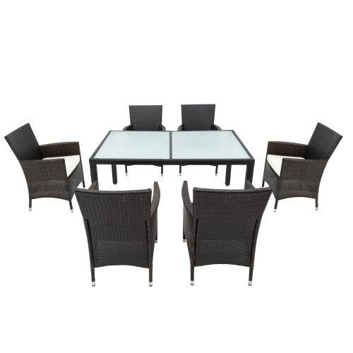 Amity Juego de muebles de jardín de ratán sintético, 6 sillas, mesa de jardín, cojines de asiento, muebles de jardín, conjunto de asientos para terraza, comedor y mesa (color marrón)