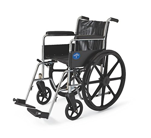 "Medline Excel 2000 Wheelchair, 18"" Wide Seat, Full Length Permanent Arms, Permanent Footrests, Chrome Frame"
