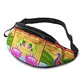 JOCHUAN Kids Fanny Pack Girls Vector Design Floral Kitsch Indian Women Riñonera con Auriculares y Correas Ajustables Mujeres Riñoneras para Viajes Deportes Senderismo
