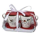 Wrendale Christmas Birds - Juego de Taza y Bandeja (2 Tazas)