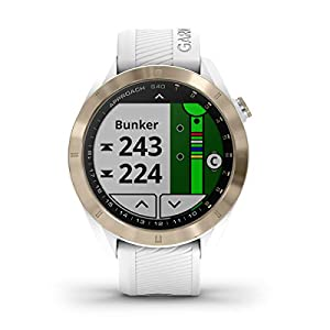 Garmin Approach S40 (White/Gold) Golf GPS Smartwatch Bundle | Includes PlayBetter Portable Charger (2200mAh) & HD Screen Protectors | Stylish, Color Touchscreen, 41,000+ Courses | 010-02140-02