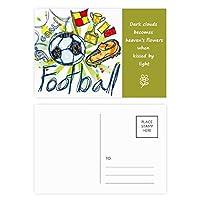 フットボールサッカー漫画シリーズのパターン 詩のポストカードセットサンクスカード郵送側20個