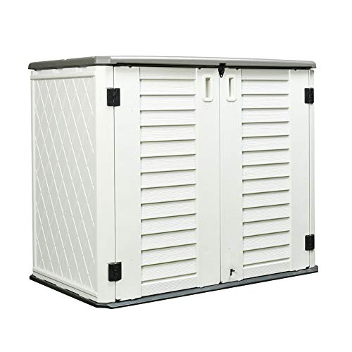 ADDOK Garden Storage Shed Weather Resistance, 4.2'x3.4' Outdoor Storage Cabinet Lockable, Thick HDEP Resin Storage Unit for Backyards, Patio, Garden(Ivory White/27 Cubic Feet)
