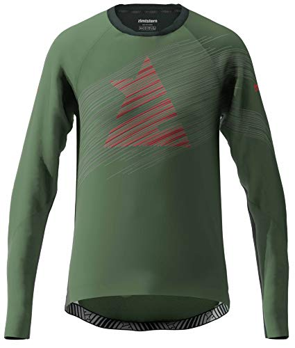 Zimtstern ProTechZonez Shirt LS, Maglietta MTB Uomo, Bronzo Verde/Nero pirato, S