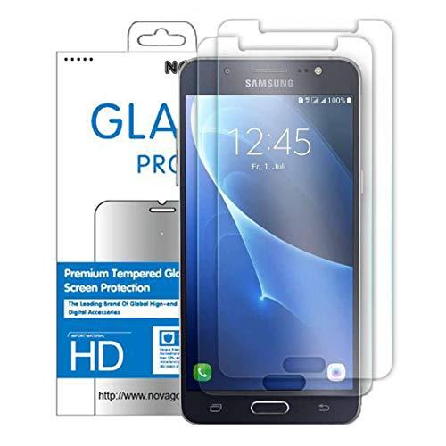 NOVAGO Galaxy J5 2016 J510 Pack de 2 Films en Verre Trempé Ultra résistant et Solide pour J5 2016/ J5 Duos/ J5 2016 Dual Sim/ J510/ Sm-J510FZDNXEF/ Sm-J510FZKNXEO pour Samsung J5 2016 J510
