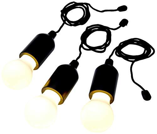 LED Ziehlampe Pull-Lamp 3er Set Schwarz Glühbirne Kordel Vintage Batterielampe warmweiß