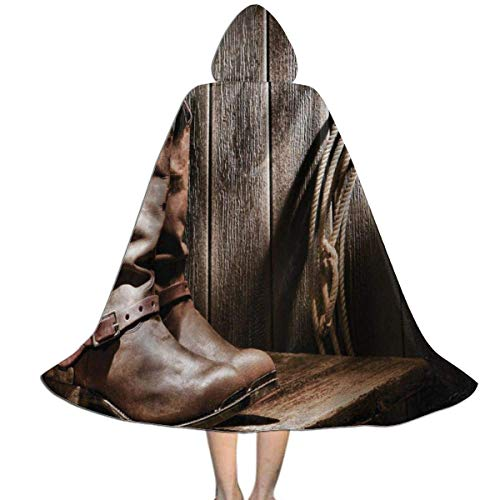 Hangdachang Kids Cape Cloak with Hood Western Cowboys Lantern On Bench Vintage Unisex Magic...