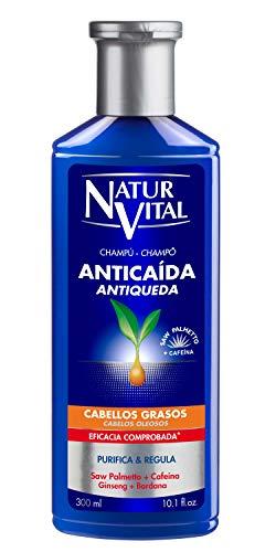 NaturVital Naturaleza y Vida Shampoo Anticaida Cabellos Grasos, Azul, 300 Mililitros