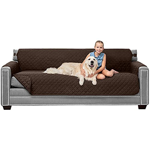"""Sofa Shield Patented Slipcover, Reversible Tear Resistant Soft Quilted Microfiber, XL 78"""" Seat Width, Durable Furniture Stain Protector with Straps, Washable Couch Cover for Dogs, Kids, Chocolate"""