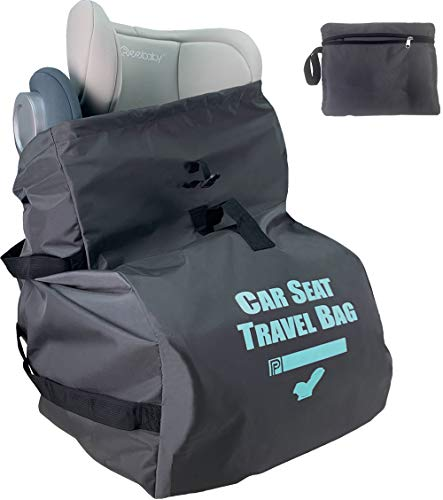 Car Seat Travel Bag for Air Travel - Profaster Airplane Carseat Gate Check Bag Backpack, Fold with Attached Carry Bag, Gray