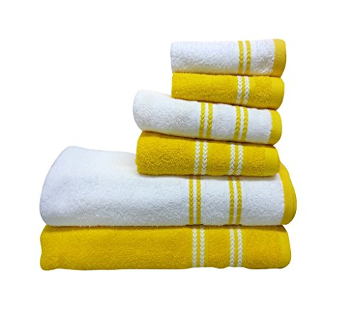 Spaces 6-Pieces Cotton Towel Set - Yellow and White Spaces