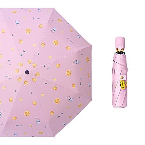 Rongxin Paraguas automático femenino súper llamativo sol de dos usos (color de color rosa)