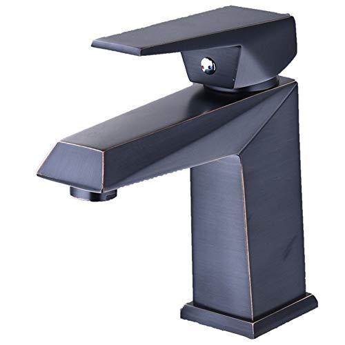 Water Tower Grifo mezclador para lavabo de baño de bronce aceitado con una sola manija, grifo mezclador para lavabo de latón macizo sin plomo, grifo mezclador para lavabo con agua fría y caliente (negro)