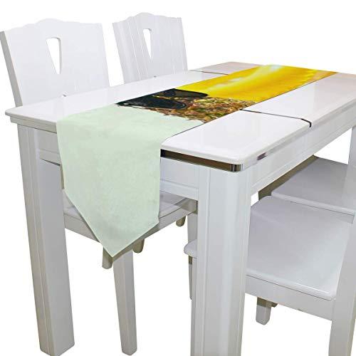 N/A Eettafel Runner Of Dresser Sjaal, Cool Ananas en Zwemmen Ring Deck Tafelkleed Runner Koffie Mat voor Bruiloft Partij Banket Decoratie 13 x 90 inch