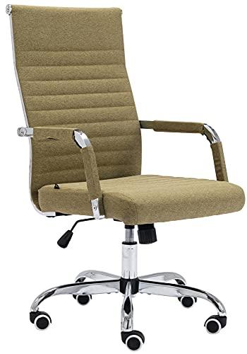CLP Amadora - Silla de oficina de piel sintética, giratoria, con ruedas, con respaldo, altura regulable, color: verde, material: tela
