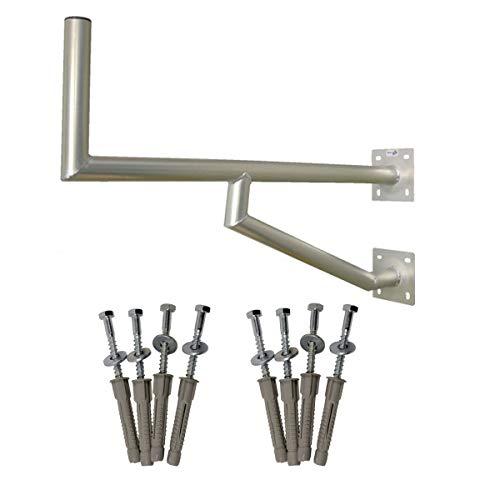 PremiumX 100cm SAT Schüssel Wandhalter ALU mit Zwei Wandplatten Montage Wandmontage Halterung Wandhalterung + 2X Schraubensatz mit Dübel und Unterlegscheibe für Wandmontage