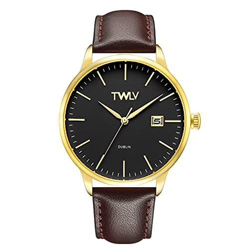 TW4307 TWLV Mr. Smith Reloj de oro con correa marrón
