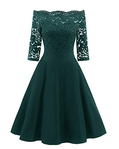Viloree 50s Rockabilly Retro Damen Kleider Halbarme Swing Cocktailkleider Party Abschlussball Dunkelgrün S