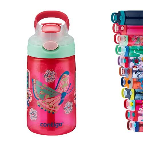 Contigo Gizmo Flip Botella Infantil Boquilla Autospout con Pajita, Libre de BPA, Sistema antiderrame, optimo para guardería, Escuela y Deportes, Unisex-Youth, Rojo (Butterfly Sprinkles), 420ml