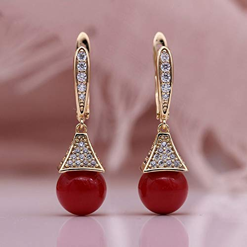 CHQSMZ Pendiente Nuevas Perlas de Concha Pendientes Largos Circón Natural Pendientes Colgantes 585 Oro Rosa Mujeres Boda Lujo Romántico Joyería de Moda Coral Rojo