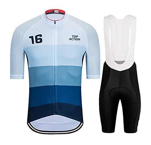 Jersey de ciclismo para hombre Jersey de ciclismo para hombres Set de bicicleta Ropa de ciclismo Pantalones cortos Ciclismo Traje de manga corta Jersey BIB Shorts Cómodo y transpirable Maillot de cic