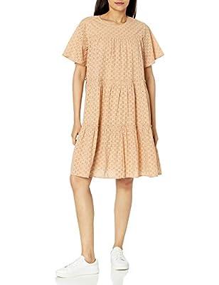 The Drop Women's Esme Short Sleeve Tiered Baby Doll Eyelet Cotton Mini Dress, Cuban Sand, XS