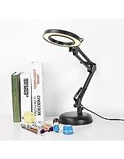5x Vergrootglas Verlicht Bureau Vergrootglas Lamp met voet en verstelbare inklapbare arm, vergrootglas LED-glas voor schoonheid Cosmetische tatoeage Manicure Nauwgezet proces, Ogen Beschermend bureau