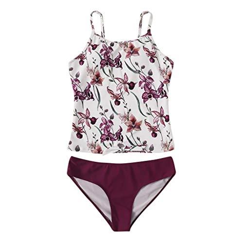 QingJiu Damen Blumendruck Sling Bikini Zweiteiler Badeanzug Mit Roten Badehosen Badebekleidung Tankini Beachwear Set