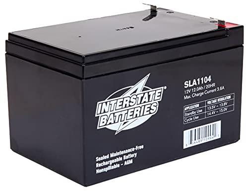 Interstate Batteries 12V 12Ah Battery (SLA1104) Sealed Lead Acid Rechargeable SLA AGM (F2 Terminal) Electric Fences, Generators, Medical Devices