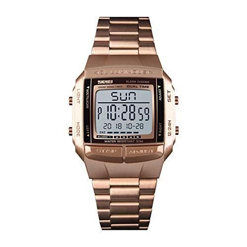 SKMEI Reloj Digital, Deportivo, Resistente al Agua, Reloj de pulsera LED para Exteriores para Mujer y Hombre