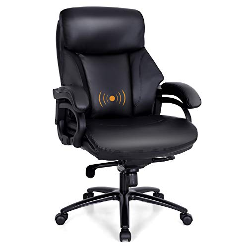 PHI VILLA Office Chair with High Back,Ergonomic Desk Chair with Massage Lumbar Support,Executive Office Chair with Enlarged Back,Weight Capacity 400 lbs,PU Leather,Black